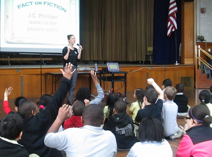 J. C. Phillipps visits Hockanum School.