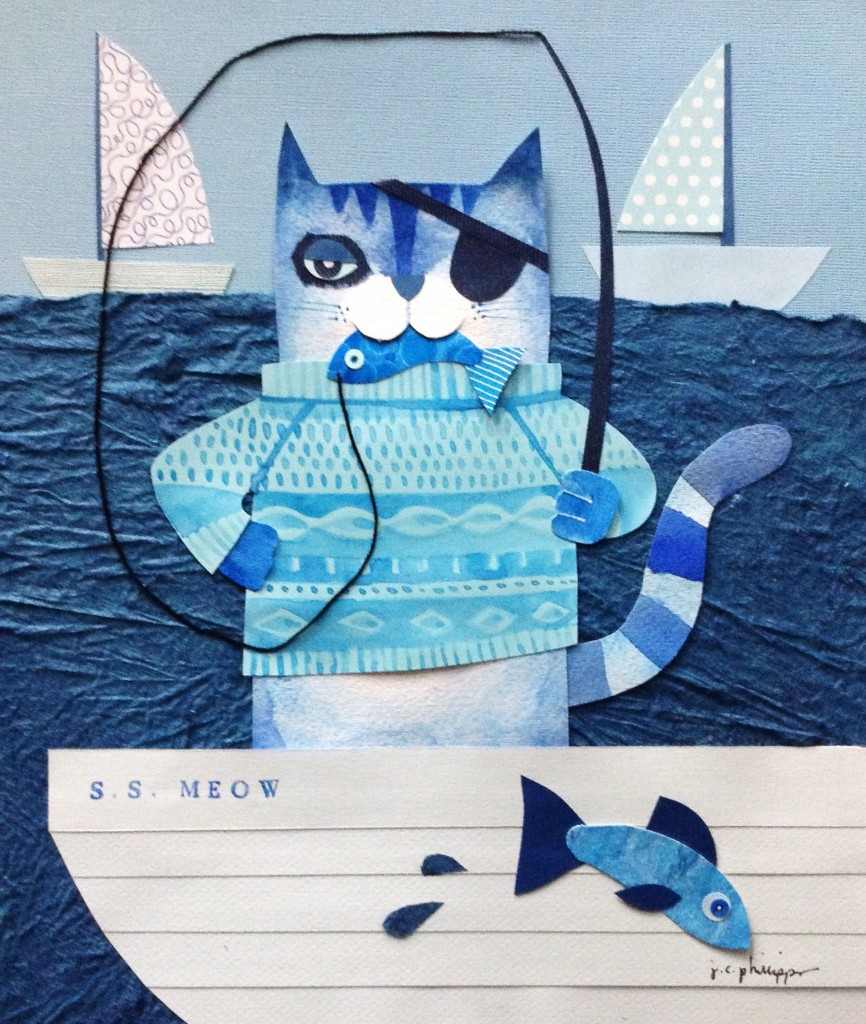 Blue Cat at Sea, collage and watercolor