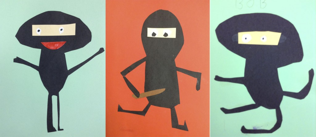 Examples of ninja collages done by first graders.