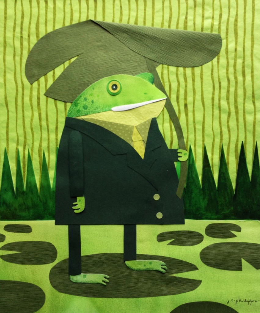 Green Frog Waiting, collage and watercolor
