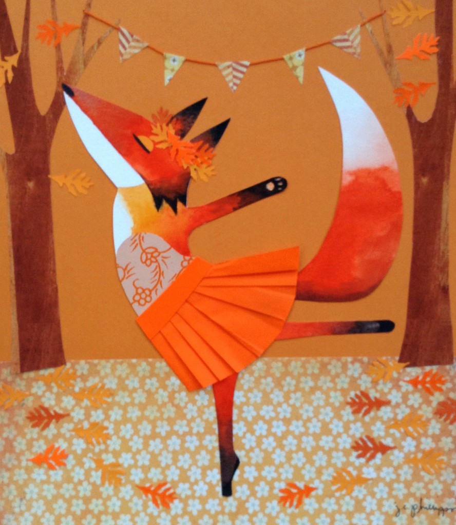 Orange Fox Dancing, collage and watercolor