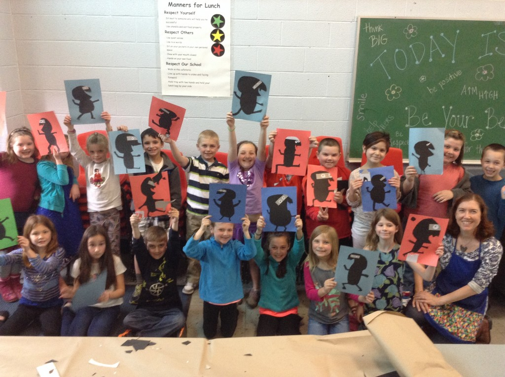 Students (and me) pose with their ninja collages.