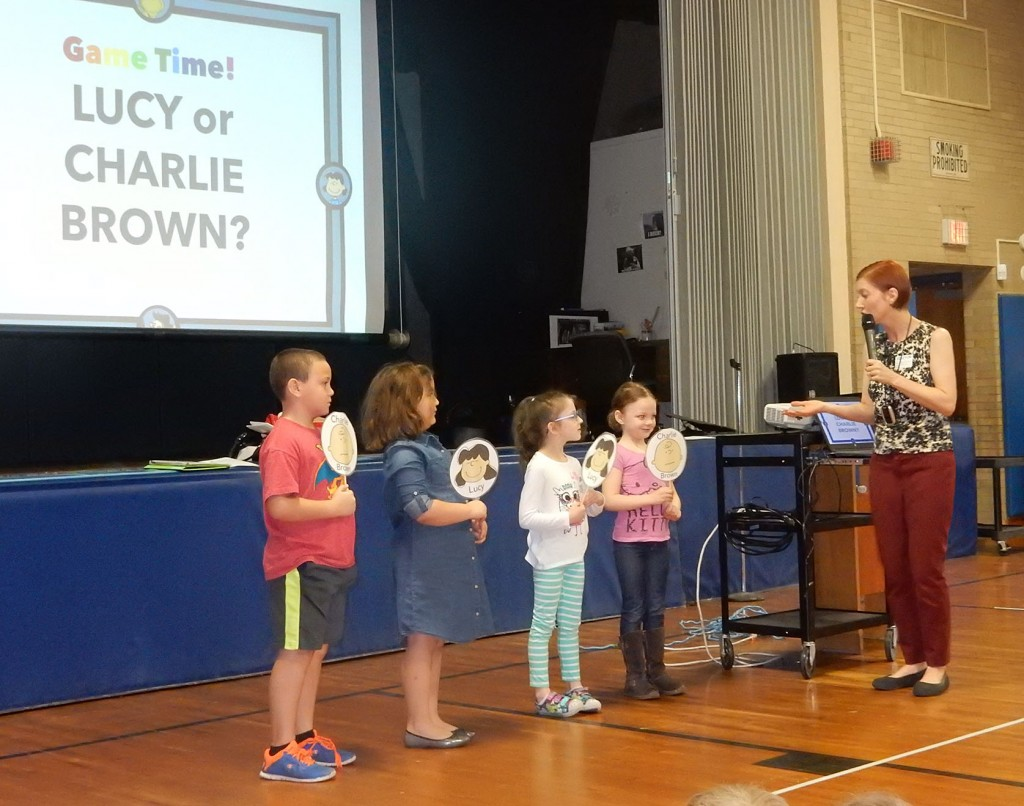 We played a game called Charlie Brown or Lucy when looking at character's voice