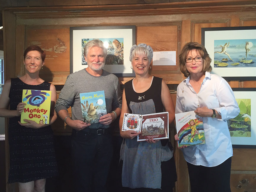 J. C. Phillipps, Robert Noreika, Andrea Wisnewski, and Sandy Chase pose with their books.