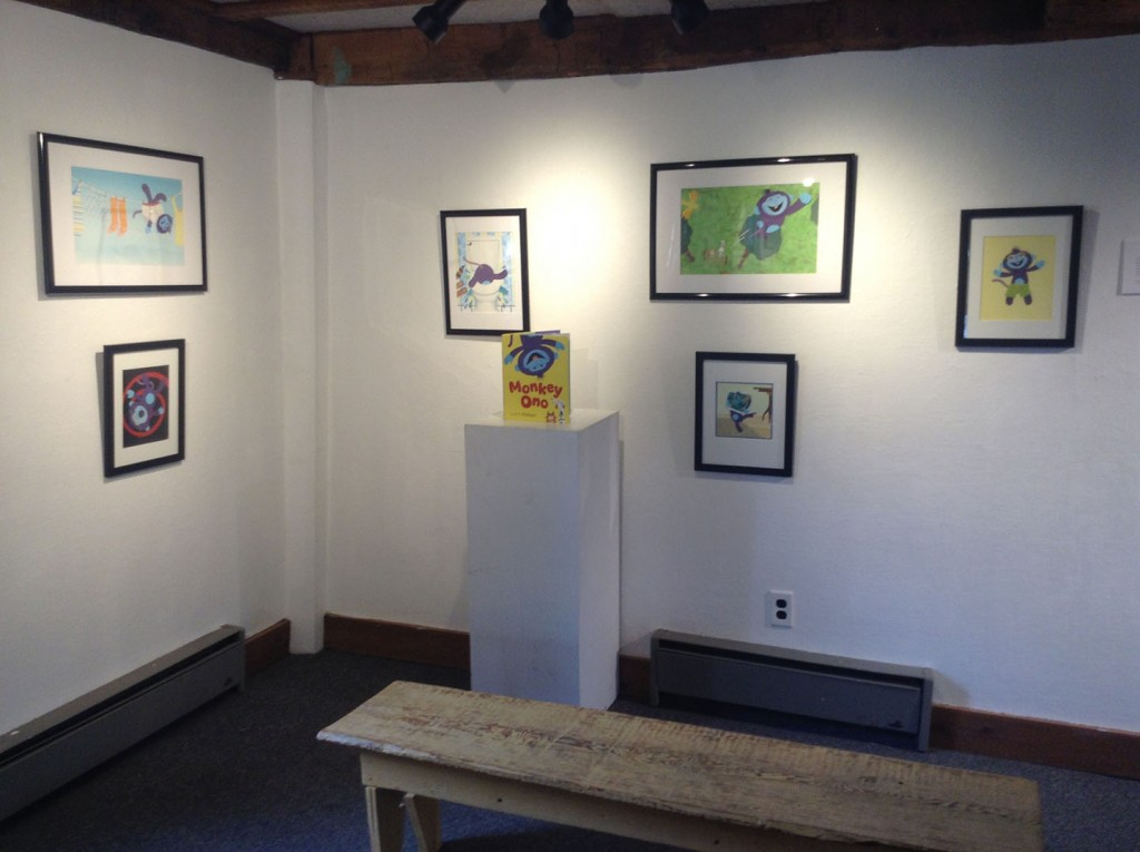 Monkey Ono illustrations on display at the West Hartford Art League.